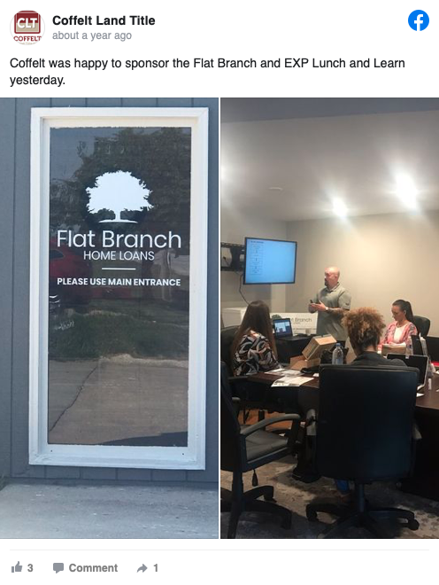 Sponsored the Flat Branch and EXP Lunch and Learn yesterday.